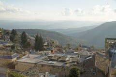 Mening van Oude Safed-cityscape in Israël Royalty-vrije Stock Foto's