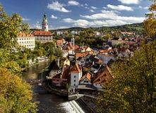 Mening van oude Stad van Cesky Krumlov Stock Foto