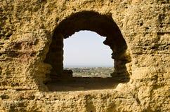 Mening van oude vensters Stock Foto's