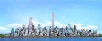 Mening van overzees aan moderne high-rise gebouwen royalty-vrije illustratie