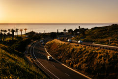 Mening van Palos Verdes Drive bij zonsondergang, in Rancho Palos Verdes Stock Fotografie
