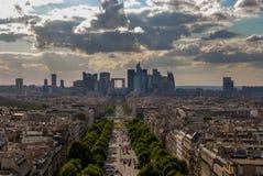 Mening van Parijs van Boog DE triomphe stock afbeelding