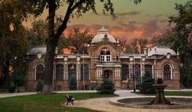 Mening van park en herenhuis van Prins Romanov, Tashkent Royalty-vrije Stock Fotografie