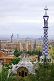 Mening van Park Guell aan Barcelona Stock Foto