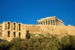 Mening van Parthenon-tempel op de Atheense Akropolis, Griekenland royalty-vrije stock foto