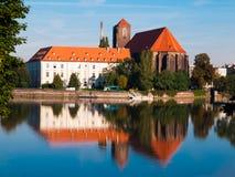 Mening van Piasek-Eiland en Odra-rivier Royalty-vrije Stock Foto