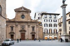 Mening van Piazza Santa Trinita in Florence Stock Foto's