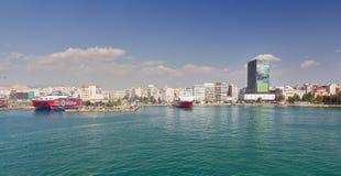 Mening van Piraeus haven, Griekenland stock afbeeldingen