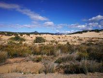 Mening van Piscinas-Duin in Sardinige, een natuurlijke woestijn Royalty-vrije Stock Foto's