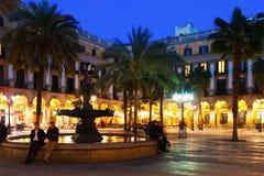 Mening van Placa Reial in de winteravond. Barcelona Royalty-vrije Stock Foto's