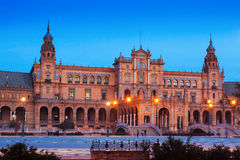 Mening van Plaza DE Espana in avond in Sevilla Royalty-vrije Stock Afbeelding