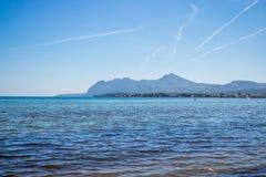 Mening van port DE pollença Mallorca Strand in Mallorca royalty-vrije stock foto's