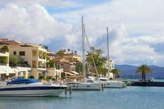 Mening van Porto Montenegro in Tivat-stad - jachtjachthaven in Adriatic montenegro stock foto's