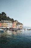 Mening van Portofino-haven in Italië Stock Foto