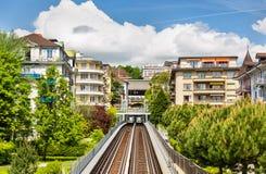 Mening van Post Jordils van Metro van Lausanne Stock Afbeeldingen
