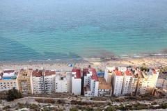 Mening van Postiguet-Strand in Alicante Stock Afbeelding