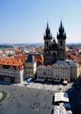 Mening van Praag van Oude Stad Hall Tower Royalty-vrije Stock Foto's