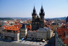 Mening van Praag van Oude Stad Hall Tower Royalty-vrije Stock Foto