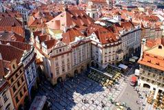 Mening van Praag van Oude Stad Hall Tower Stock Foto