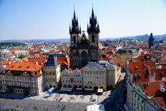 Mening van Praag van Oude Stad Hall Tower Royalty-vrije Stock Afbeeldingen