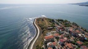 Mening van Primorsko-toevluchtstad van hierboven Royalty-vrije Stock Afbeeldingen