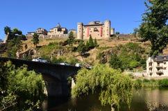 Mening van Puebla DE Sanabria, Zamora provincie, Castilla-Leon, Spai royalty-vrije stock foto