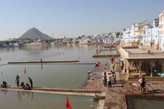 Mening van Pushkar-Meer stock foto's