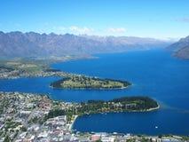 Mening van Queensstad, Nieuw Zeeland Stock Foto