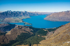 Mening van Queenstown en Meer Wakatipu, Nieuw Zeeland Royalty-vrije Stock Afbeelding
