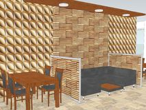 Mening van restaurant met a met het houten muur met panelen bekleden vector illustratie