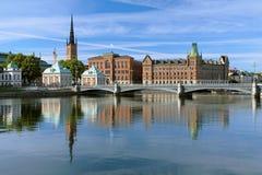 Mening van Riddarholmen-eiland in Stockholm, Zweden Stock Afbeeldingen