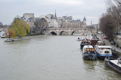 Mening van rivierzegen in Parijs Royalty-vrije Stock Afbeeldingen