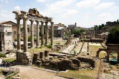 Mening van Roman ruïnes van het Forum Stock Foto's