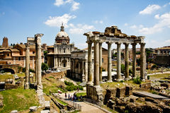 Mening van Roman ruïnes van het Forum Stock Afbeelding