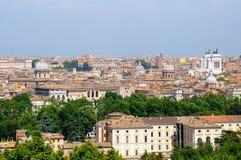 Mening van Rome van heuvel Janiculum Stock Fotografie