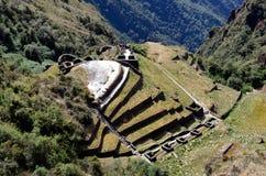 Mening van ruïne Phuyupatamarca op de Sleep Inca Royalty-vrije Stock Afbeelding