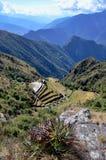 Mening van ruïne Phuyupatamarca op de Sleep Inca Royalty-vrije Stock Foto