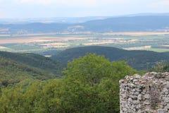 Mening van Ruïnes van Tematin-kasteel aan de stad Å¥any, Slowakije van PieÅ ¡ stock fotografie