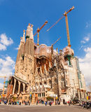 Mening van Sagrada Familia in de lente Royalty-vrije Stock Foto's