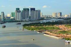 Mening van Saigon-rivier van hierboven Royalty-vrije Stock Foto's