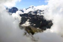 Mening van Schilthorn op sneeuw Zwitserse bergen Royalty-vrije Stock Foto's