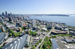 Mening van Seattle en Elliott Bay Van de binnenstad van de Ruimtenaald Royalty-vrije Stock Foto
