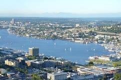 Mening van Seattle, Washington van hierboven Stock Foto
