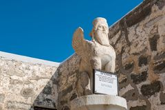 Mening van Sfinxstandbeeld bij Bodrum-Kasteel, Turkije stock afbeelding
