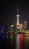 Mening van Shanghai Pudong-Horizon bij nacht Stock Afbeelding