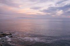 Mening van Shell Beach en Horizon royalty-vrije stock afbeelding