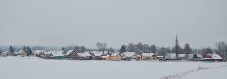 Mening van sneeuwdorp Pribraz in zuidelijke Bohemen Royalty-vrije Stock Foto