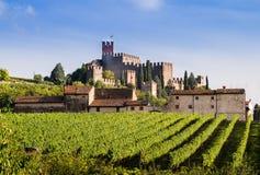 Mening van Soave (Italië) en zijn beroemd middeleeuws kasteel stock afbeeldingen