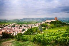 Mening van Soave (Italië) en zijn beroemd middeleeuws kasteel stock afbeelding