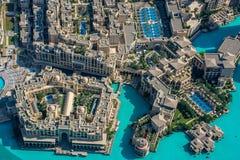 Mening van Souk Al Bahar From Burj Al Khalifa, Doubai stock afbeeldingen